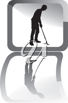 Illustration of black golf player with reflex.