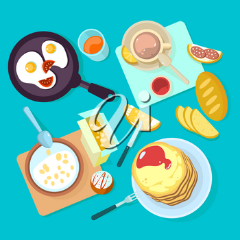 Fresh healthy breakfast food and drinks top view. Egg and sandwich, cereal, bread and butter, milk flat vector illustration isolated on blue backgraund