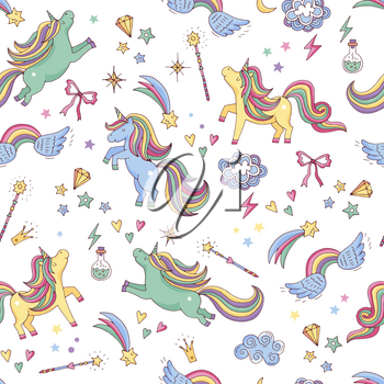 Vector seamless pattern of unicorn, clouds, rainbow and magic wand. Background with rainbow and character unicorn, illustration of dream myth magic unicorn