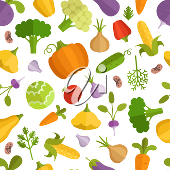 Vegetables cartoon illustration. Vector seamless pattern with vegetable food, fresh colorful cucumber and pepper