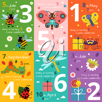 Invitation cards for kids birthday with illustrations of funny insects and bugs. Vector invitation to kids birthday with dragonfly or caterpillar