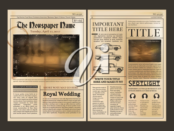 Layout design. Front page of vintage newspaper. Vector illustration with place for your text. Newspaper page, column of new article