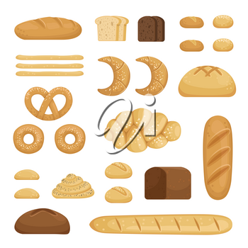 Different sorts of bread. Vector pictures of bakery food. Fresh different snack bread lunch illustration