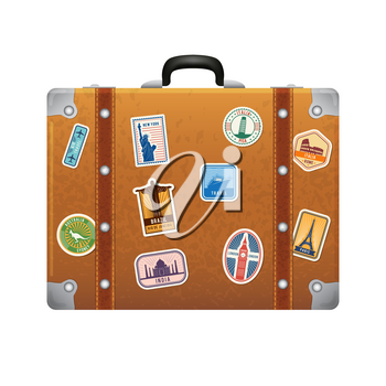 Travel stickers on retro leather suitcase. Vector labels set on baggage leather, bag suitcase for tourism illustration