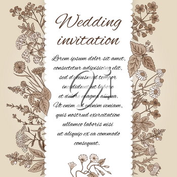 Template of wedding invitation in vintage style. There is place for text. Invitation decoration from hand drawn herbs. Wedding flower invitation. Vector illustration