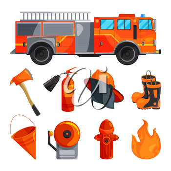 Protective clothing of fireman, boots, helmet, axe and other specific tools. Vector illustration. Helmet and boot, glove protection fire