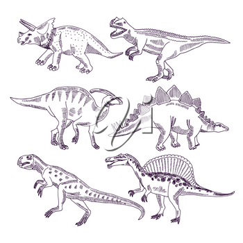 Wild life with dinosaurs. Hand drawn illustrations set of t rex and other dino types. Dinosaur sketch animal drawing, monster character prehistoric tyrannosaurus and triceratops