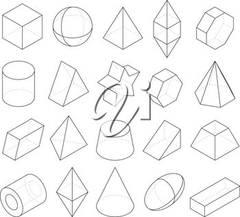 Monoline illustrations. Frames of different geometry shapes. Linear geometry figure polygon, octahedron and pyramid, vector geometric cone and sphere