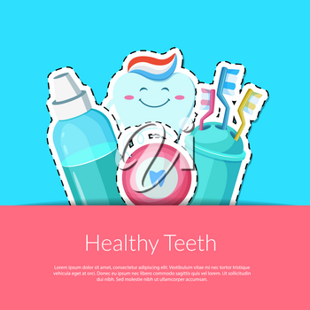 Vector cartoon teeth hygiene stickers in pocket illustration with place for text illustration