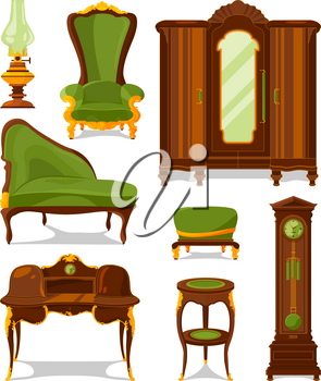 Antique furniture in cartoon style. Vector illustrations isolate. Antique interior furniture wooden vintage