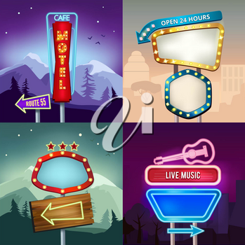 Set of retro illustrations of landscape with lighting neon banners for advertise. Board for motel and shop. Neon banner and signboard motel vector
