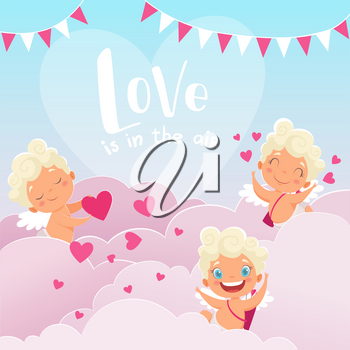 Cupid clouds background. Valentine day baby amur romantic greece god with bow flying clouds hunting lovers couples vector illustration. Cupid love angel, amur romantic