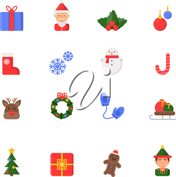 Christmas flat icons. Winter celebration vector symbols santa boots candles snowman bells and christmas tree isolated. Illustration of candy and snow, reindeer and snowflake