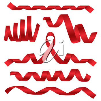 Festival and celebrations red ribbons at different dynamic shapes. Ribbon curve satin or silk, vector illustration