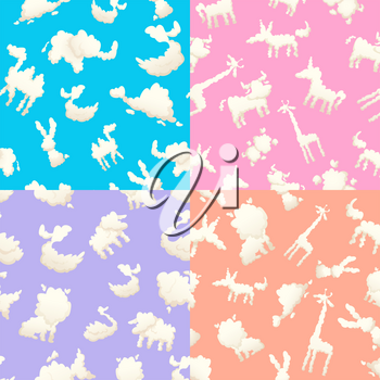 Weather patterns with clouds. Seamless patterns with clouds of different shapes. Background shape animal clouds, unicorn and giraffe illustration
