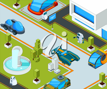 Futuristic city with transport. City landscape with various automobiles. Transportation city, futuristic automobile traffic. Vector illustration