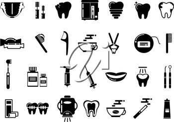 Dental monochrome vector pictures. Healthcare illustration of healthcare and tooth hygiene, treatment dental