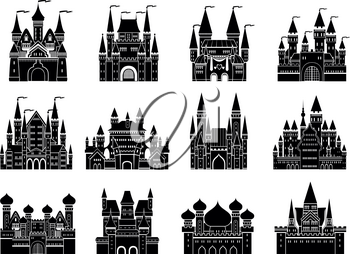 Monochrome vector illustrations set with different medieval old castles and towers. Castle building fortress monochrome, historic medieval castle