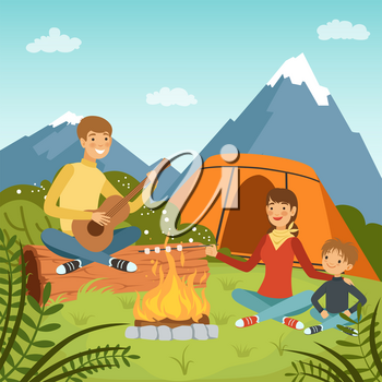 Family camping in the wood near big mountains. Nature vector background illustrations. Mom and dad with son summer tourism