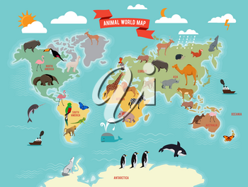 Illustration of wildlife animals on the world map. Vector illustrations set. World map with animals from america, asia, antarctica and eurasia
