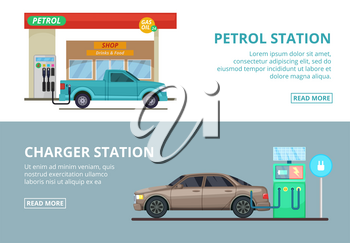 Car charging electricity, and petrol gas station. Vector illustrations in cartoon style. Transportation car to gas station