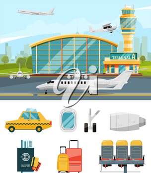 Airport terminal illustration, aircraft and different specific icons set. Airport with airplane, terminal with plane