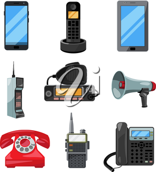 Different telephones, smartphones and other business communication tools. Vector contact symbols loudspeaker and portable radio illustration