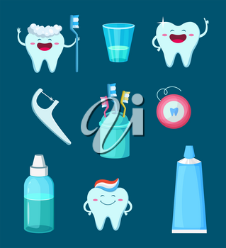 Funny characters illustration. Cartoon teeth with different emotions. Dental mascot toothpaste and toothbrush vector
