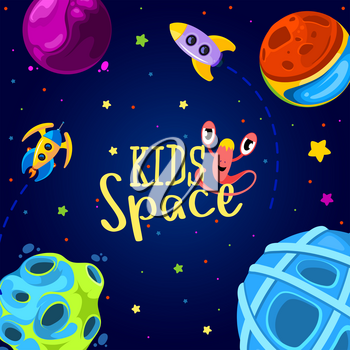 Space frame design. Vector illustration. Kids background in cartoon style. Monsters in space