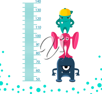 Meter wall or height meter from 50 to 140 centimeter with cute monsters. Height measurement on meterwall centimeter, vector illustration