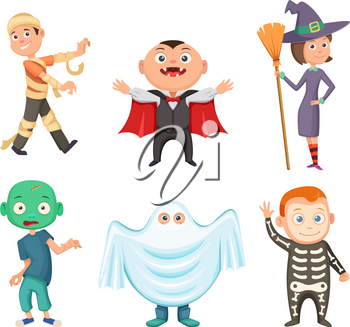 Halloween costumes for kids. Zombie, vampire, witch and funny ghost. Set of costume for halloween party, vector illustration