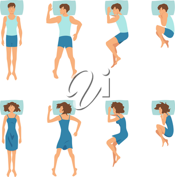 Male and female in sleeping poses. Top view illustrations of relaxing positions. Man and woman pose in bed in vector style
