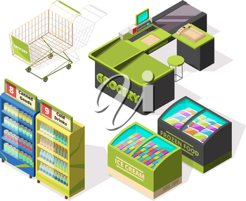 Isometric constructions for supermarket or warehouse. Shopping cart, terminal and food counters. Supermarket retail and counter, store market grocery. Vector illustration
