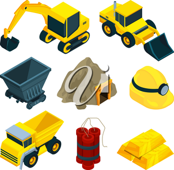 Mining minerals and gold. Vector mine gold mineral, industry and equipment for mining illustration
