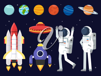 Set of planets, space shuttles and astronauts in flat style. Rocket and astronaut, spaceship and shuttle. Vector illustration