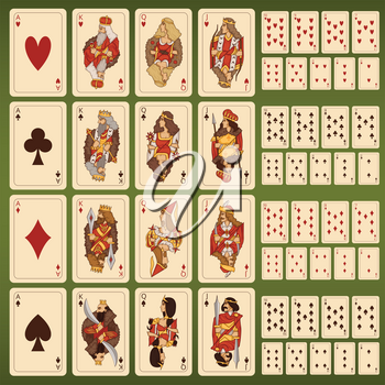 Big vector set of playing cards with stylized characters. King and queen card illustration