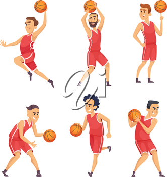 Sport illustrations. Characters set of basketball team. Player of team with ball vector