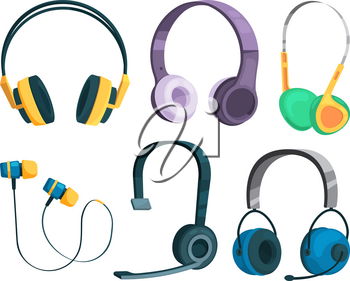 Set vector illustrations of various headphones. Headset equipment stereo music, sound and audio