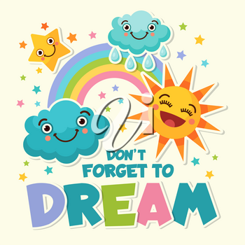Background illustrations with cartoon funny pictures of different weather icons. Banner weather cartoon, funny character sun and cloud vector