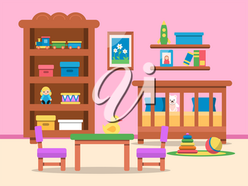 Vector picture of kids room interior. Bed, table and various toys. Illustration of bedroom for child or kid, playroom with cot and furniture
