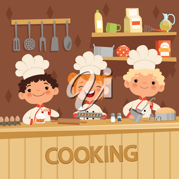 Background illustrations of kids preparing food on the kitchen. Vector confectioner and baker, child in apron