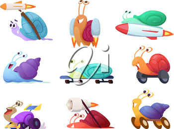Fast cartoon snails. Business concept characters of competitive quick cute slug vector race mascots in action poses. Illustration of snail fast and speed, slow animal funny