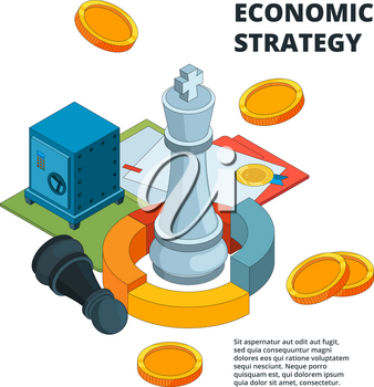 Business strategy concept. Corporate success planning and management symbols new level target chess figures vector isometric. Isometric chess king, plan intelligence financial illustration
