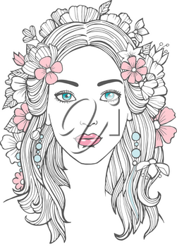 Beautiful woman portrait. Mysterious drawing beauty young female with flowers in hair vector art. Face woman portrait, girl young drawing illustration