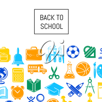 Vector back to school stationery background illustration. Web page colored banner