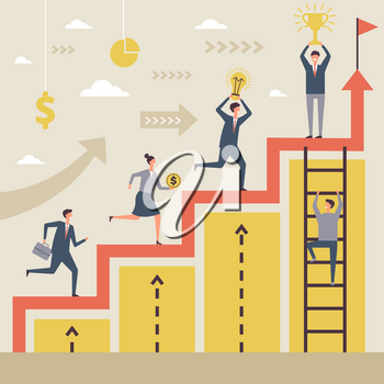 Business concept of winners. Success peoples running to their big goal. Successful winner achievement, growth and climbing to staircase. Vector illustration
