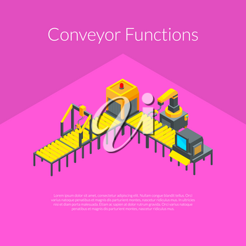 Vector isometric conveyor elements concept illustration for industrial banner