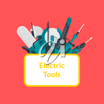 Vector electric construction tools under ellipse with place for text illustration