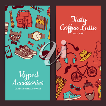 Vector hipster doodle icons vertical web banners and poster illustration