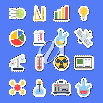 Vector flat style science icons stickers with shadows set. Science research chemistry and biology, laboratory equipment and microscope analysis illustration